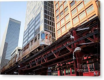 Chicago Elevated L Train With Downtown Buildings Canvas Print