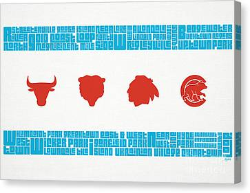 Silhouettes Canvas Print - Chicago Flag Sports Teams by Mike Maher