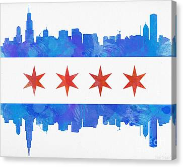 Chicago Skyline Canvas Print - Chicago Flag Watercolor by Mike Maher