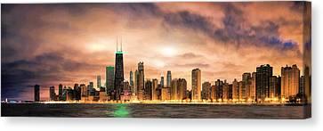 Chicago Gotham City Skyline Panorama Canvas Print by Christopher Arndt