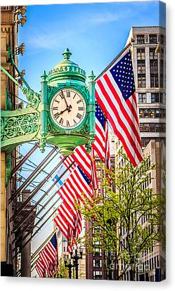 Chicago Great Clock On Macys Building Canvas Print
