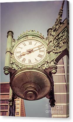 Chicago Great Clock Vintage Photo Canvas Print