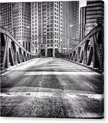 #chicago #hdr #bridge #blackandwhite Canvas Print by Paul Velgos
