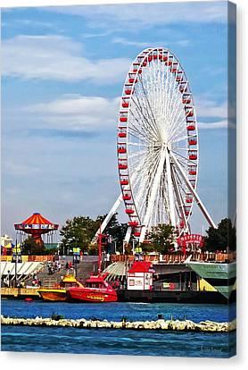 Chicago Il - Ferris Wheel At Navy Pier Canvas Print by Susan Savad