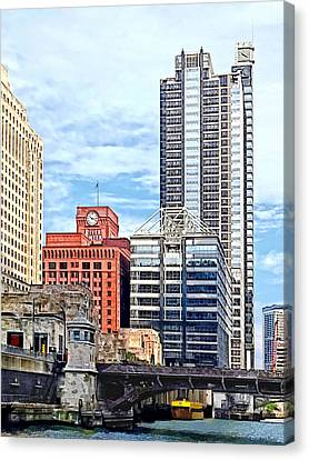 Chicago Il - Water Taxi Passing Under Lyric Opera Bridge Canvas Print by Susan Savad