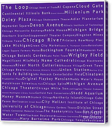 Chicago In Words Purple Canvas Print