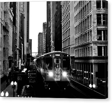 Chicago L Black And White Canvas Print by Benjamin Yeager