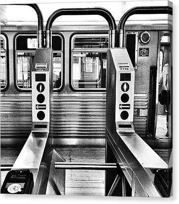 Transportation Canvas Print - Chicago L Train Gate In Black And White by Paul Velgos
