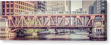Chicago River Canvas Print - Chicago Lake Street Bridge L Train Retro Picture by Paul Velgos