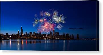 Fourth Canvas Print - Chicago Lakefront Fireworks by Steve Gadomski