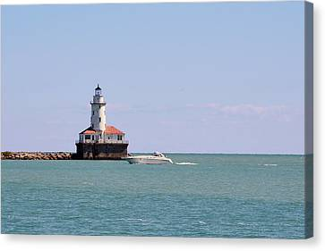 Chicago Light House With Boat In Lake Michigan Canvas Print
