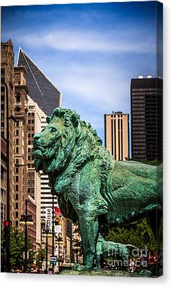 Chicago Lion Statues At The Art Institute Canvas Print by Paul Velgos