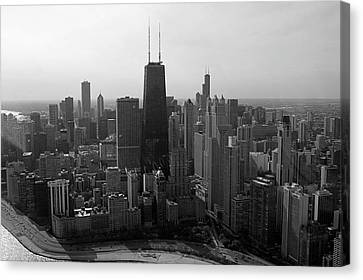 Chicago Looking South 01 Black And White Canvas Print by Thomas Woolworth