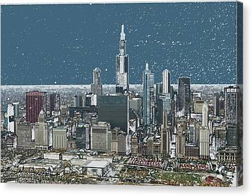 Chicago Looking West In A Snow Storm Digital Art Canvas Print by Thomas Woolworth