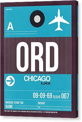 Plane Canvas Print - Chicago Luggage Poster 1 by Naxart Studio