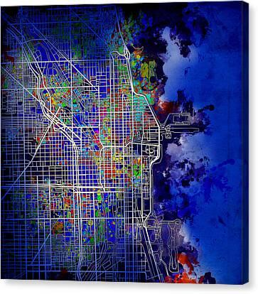 Chicago Map Blue Version Canvas Print