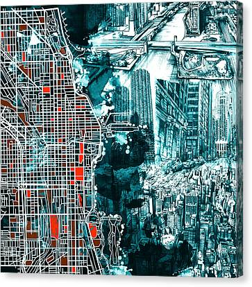 Chicago Map Drawing Collage Canvas Print