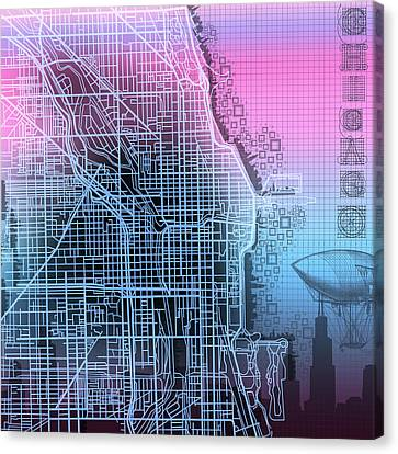 Chicago Map Gradient 2 Canvas Print by Bekim Art