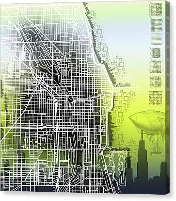 Chicago Map Gradient Canvas Print by Bekim Art