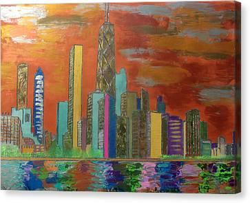 Pallet Knife Canvas Print - Chicago Metallic Skyline by Char Swift