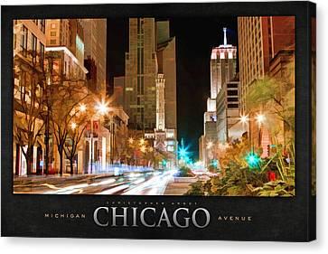 Chicago Michigan Avenue Light Streak Poster Canvas Print