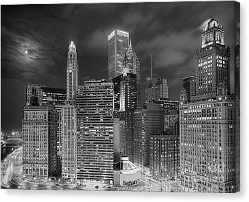 Chicago Moonlight Canvas Print by Jeff Lewis