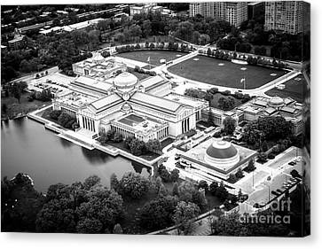 Chicago Museum Of Science And Industry Aerial View Canvas Print by Paul Velgos