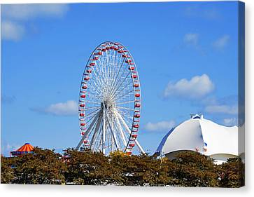 Chicago Navy Pier Ferris Wheel Canvas Print by Christine Till
