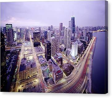 Chicago Night Canvas Print by Jon Neidert