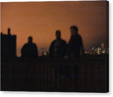 Chicago Night With People On Roof Canvas Print