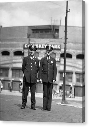 Chicago Officers At Comiskey Canvas Print by Retro Images Archive