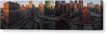 Chicago On The River Canvas Print by Steve Gadomski