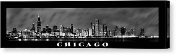 Chicago Skyline Canvas Print - Chicago Panorama At Night by Sebastian Musial