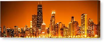 With Canvas Print - Chicago Panorama Skyline At Night Orange Tone by Paul Velgos
