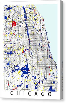 Chicago Piet Mondrian Style City Street Map Art Canvas Print by Celestial Images