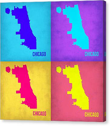 Chicago Pop Art Map 1 Canvas Print by Naxart Studio