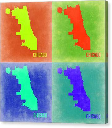 Chicago Pop Art Map 2 Canvas Print by Naxart Studio