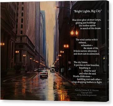 Chicago Rain Bright Lights Big City Canvas Print by Anita Burgermeister