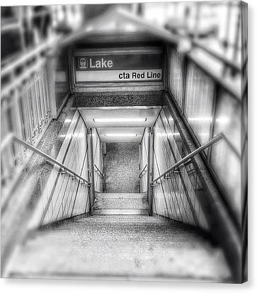 Chicago Lake Cta Red Line Stairs Canvas Print by Paul Velgos