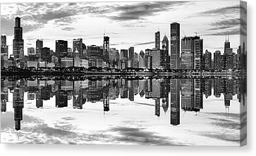 Chicago Reflection Panorama Canvas Print by Donald Schwartz