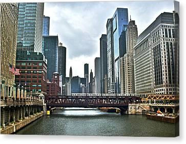 Chicago River And City Canvas Print by Frozen in Time Fine Art Photography