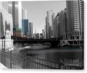 Chicago River Canvas Print - Chicago River At Franklin Street by David Bearden
