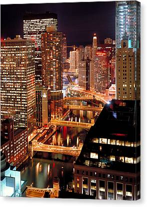 Chicago River At Night Canvas Print by Thomas Firak
