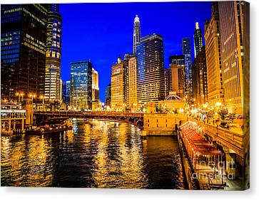 Chicago River Canvas Print - Chicago River Buildings At Night Picture by Paul Velgos
