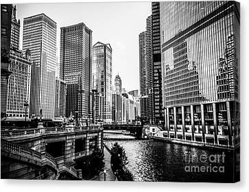 Chicago River Buildings In Black And White Canvas Print by Paul Velgos