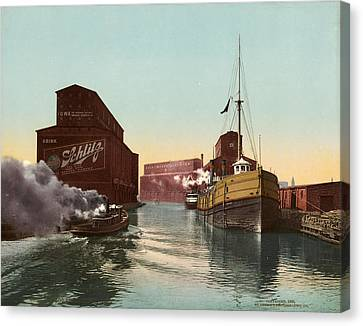 Chicago River, C1900 Canvas Print by Granger