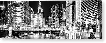 Chicago River Canvas Print - Chicago River Cityscape Panorama Photo With Wabash Bridge  by Paul Velgos