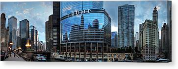 Chicago River Pano 001 Canvas Print by Lance Vaughn