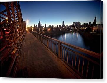 Chicago River Scene At Dawn Canvas Print by Sven Brogren