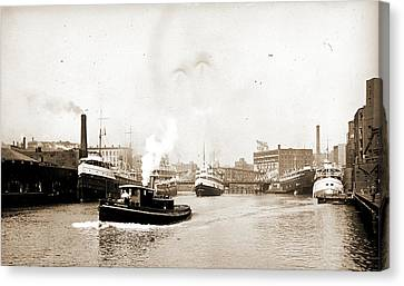 Chicago River Scene With Steamboat And Industrial Canvas Print by Litz Collection